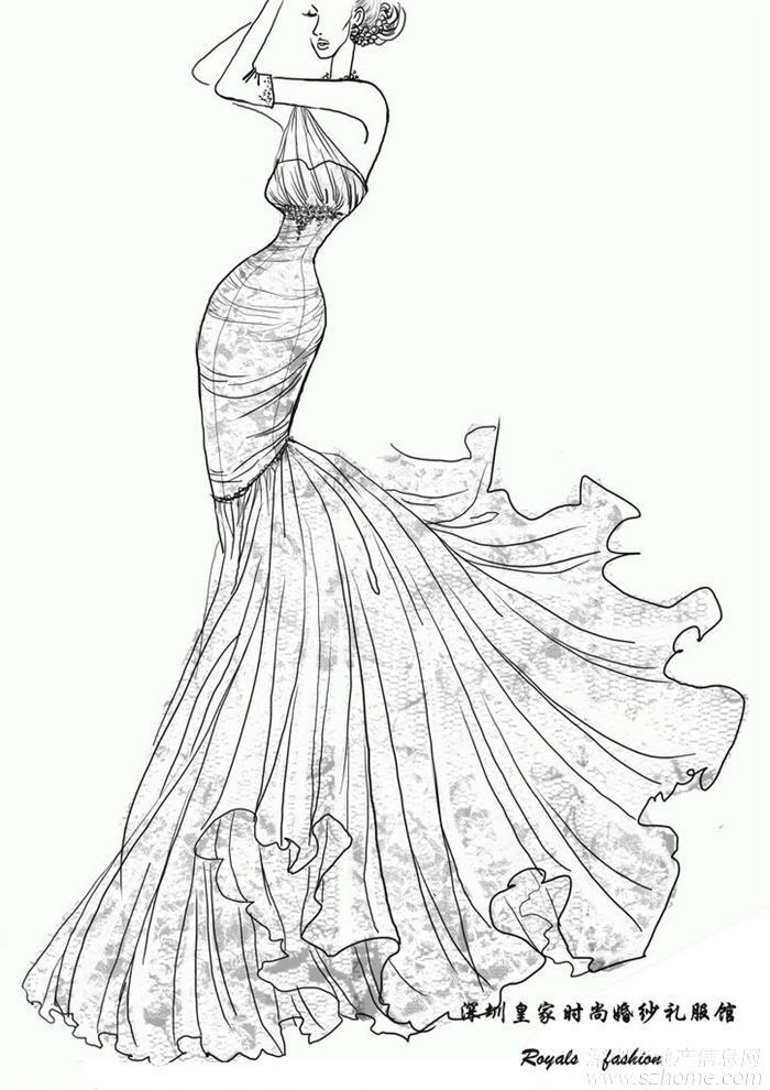 知名设计师婚纱手稿