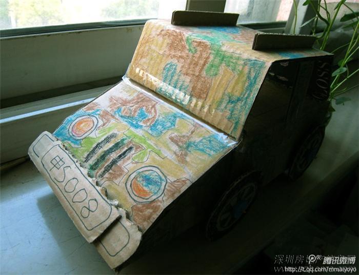 幼儿园亲子手工课作业——快递纸箱改造的小越野车