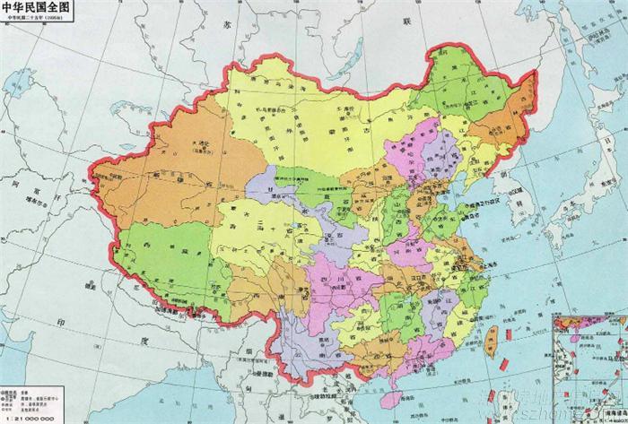 台湾版中国地图有35个省