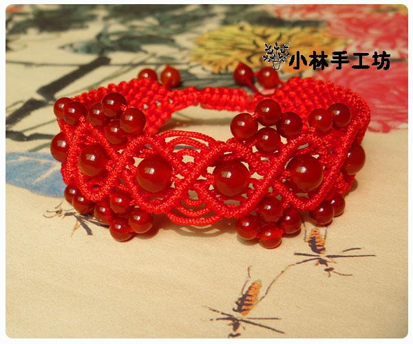 小林手工坊 编织红绳手链玛瑙花边宽手绳超赞1条包邮热销中国结