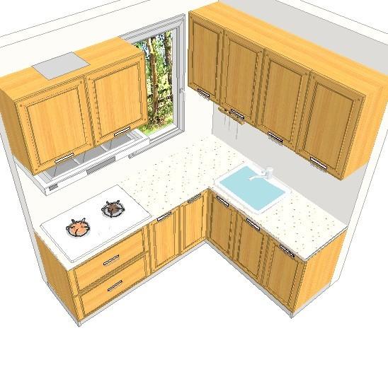 橱柜今天去量了,出了个效果图,白色的柜体,石英的台面,不锈钢的