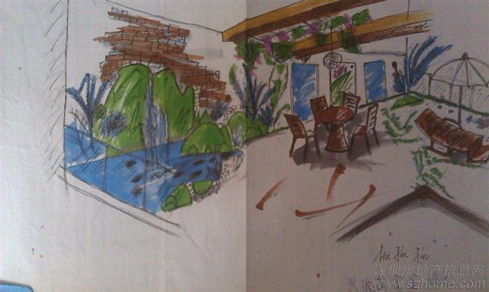别墅后花园 手绘现场设计