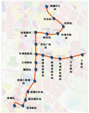 龙华新区有轨电车线路示意图
