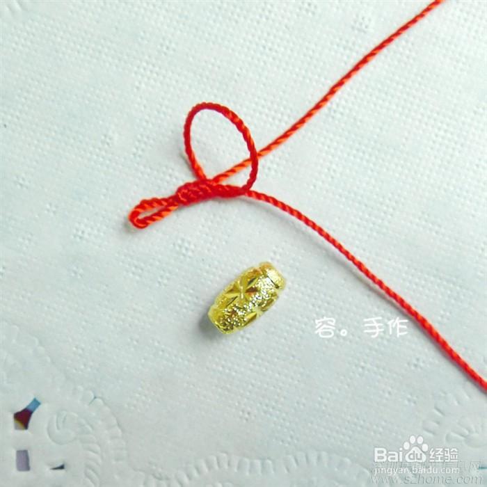 款式黄金红绳转运珠戒指红绳戒指;