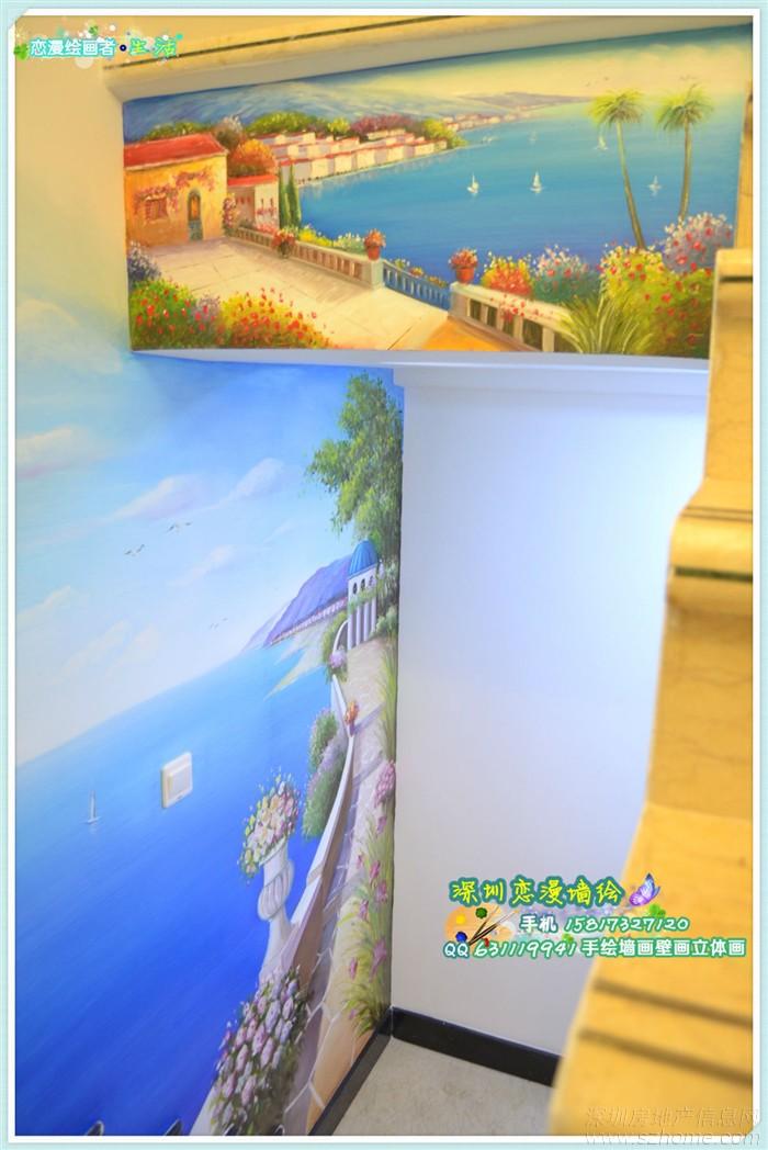 最新手绘墙画壁画墙绘作品 地中海风格海景
