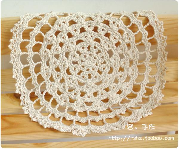 容.手作 手工钩针花片钩织蕾丝花边餐垫多用隔热垫杯垫盘垫新品