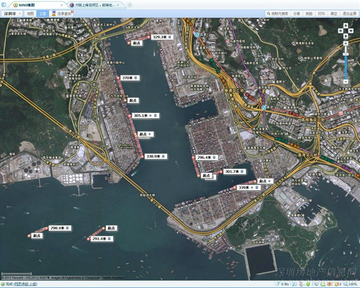 上海到深圳飞机航线图