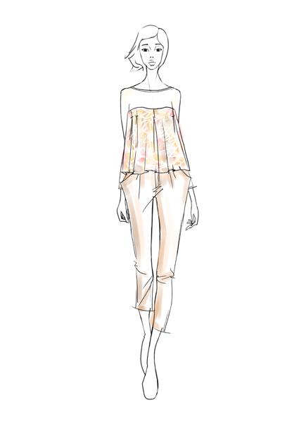 服装效果图一般采用写实的方法准确表现人体着装效果.