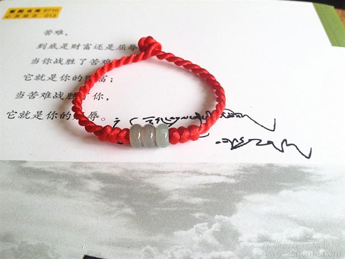 纯手工编制 玉珠玛瑙红绳手链