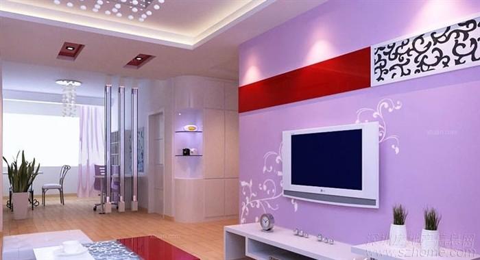 紫色背景墙最常用的地方是沙发背景墙