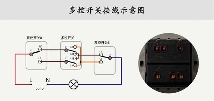 三灯三控开关实物接线图解