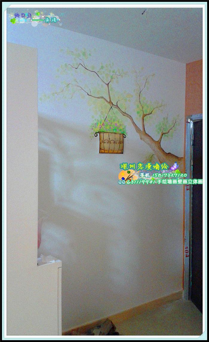> 关于小树木小藤枝的墙绘手绘墙画展示