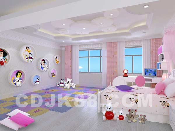 欧式别墅女生卧室白色