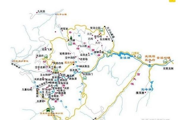 武陵源风景区线路地图