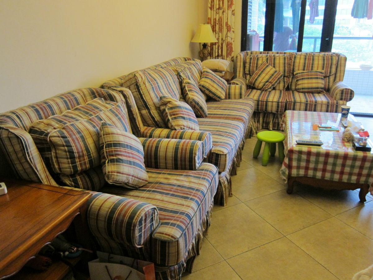 """原帖最新价格""""英式乡村风格纯实木布艺沙发一套,附送2套沙发套,小孩房"""