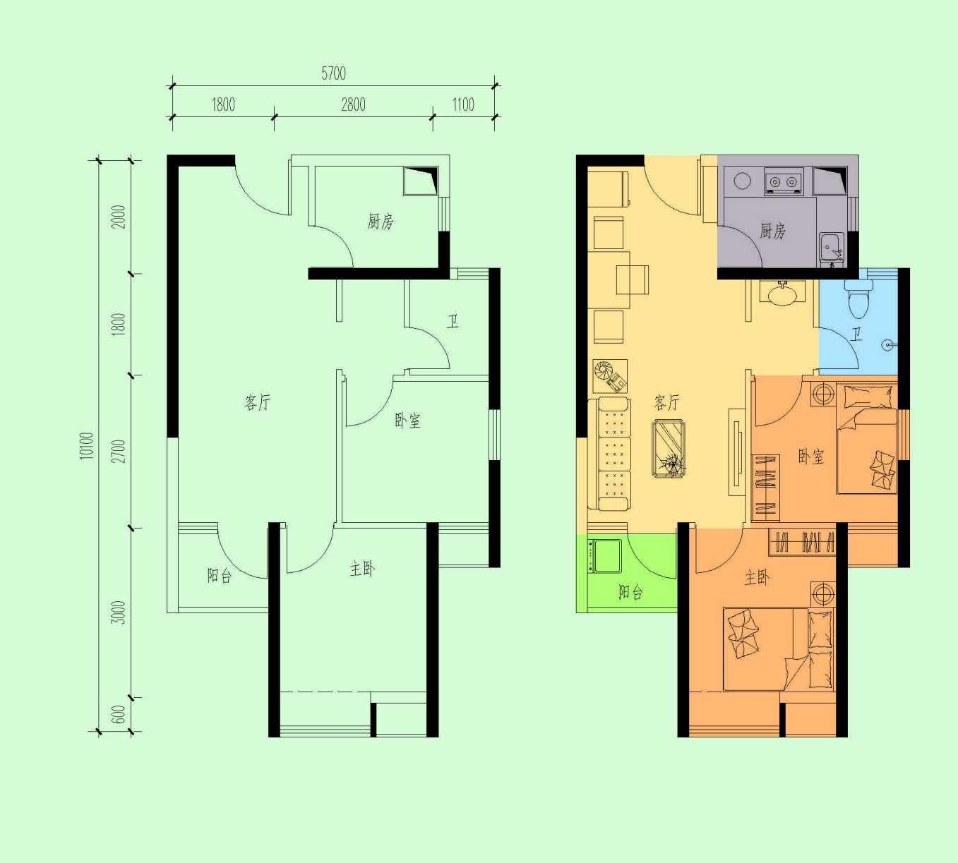 四期二房一厅户型图