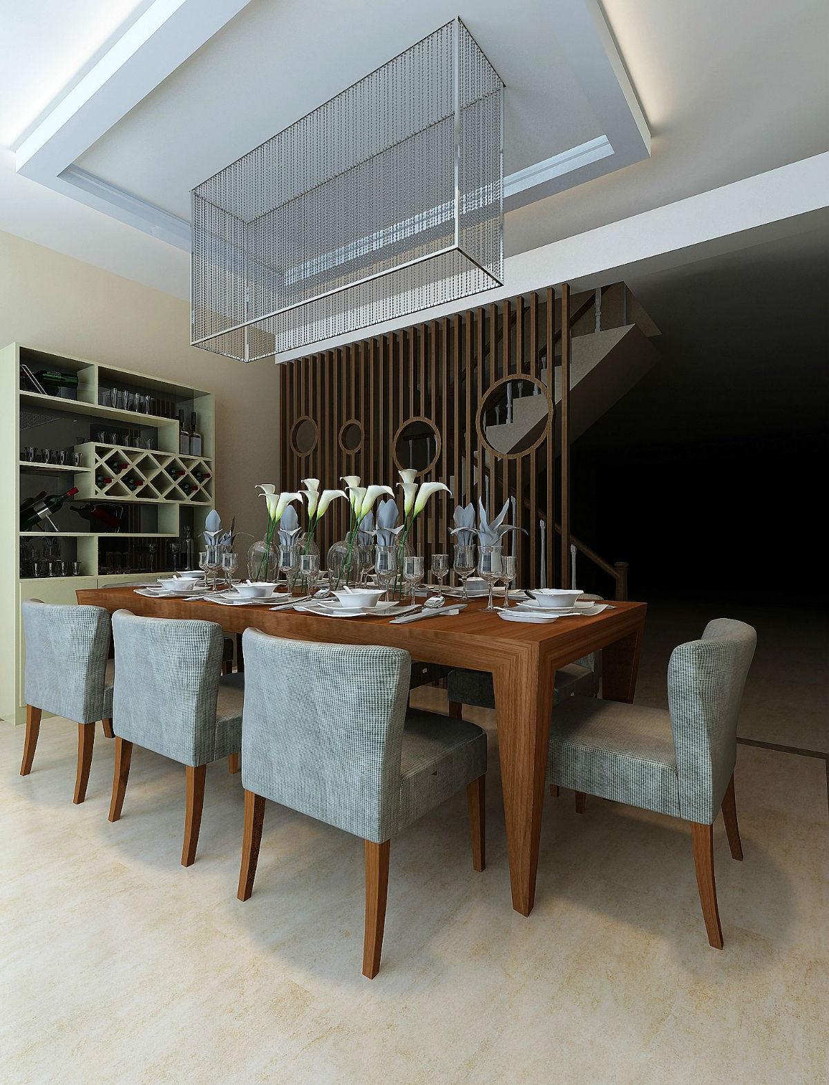 200平米跃层房子沉稳餐厅装修效果图欣赏