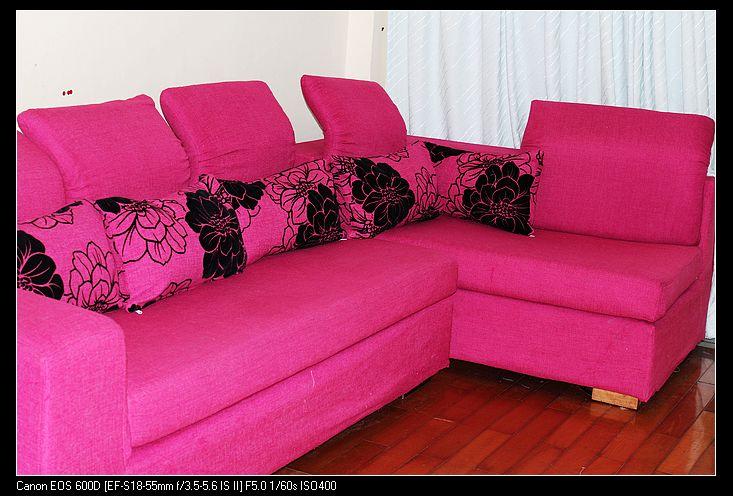 玫红色沙发(3+贵妃椅)