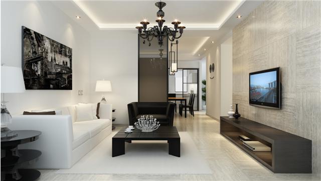 白色现代小户型客厅电视墙图片2013大全