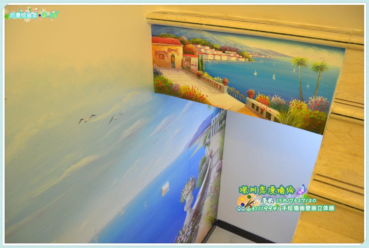 近期墙绘作品 手绘墙画壁画 地中海风格,海景