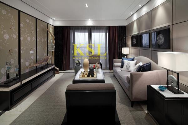 中洲央筑花园新中式风格样板房室内设计项目