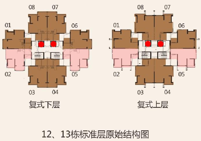 每栋塔楼的电梯间(红点)只有2个