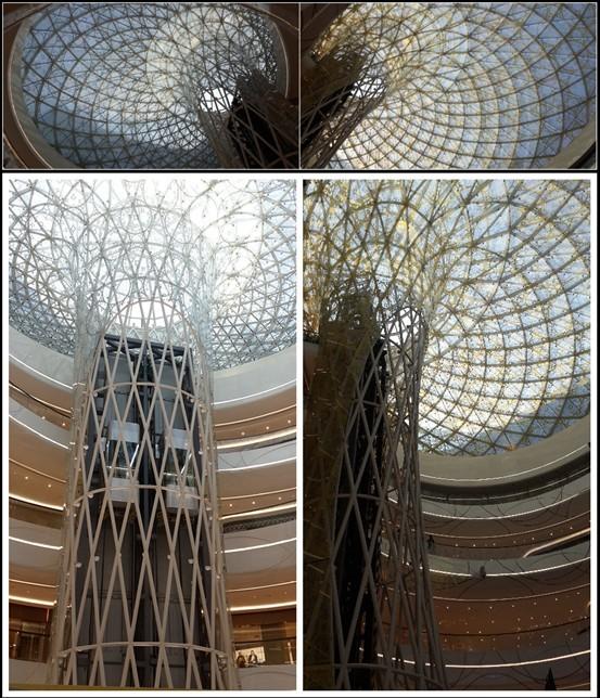 且椭圆中庭采光顶与观光梯一体化设计