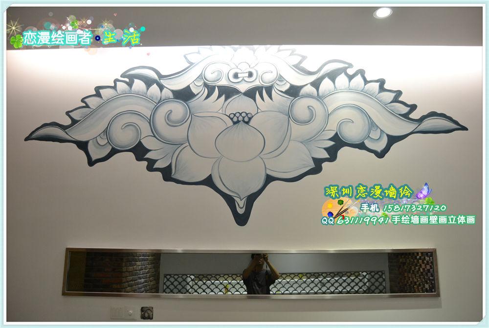 承接大型工装壁画 餐厅会所酒吧ktv公共场所手绘壁画与家居墙绘