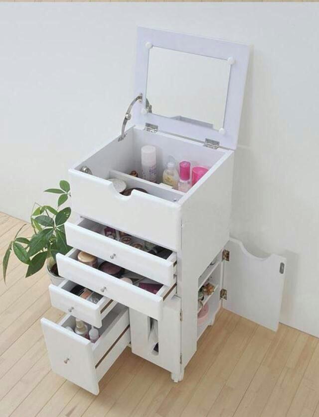 实木多功能梳妆台收纳柜化妆台可移动首饰盒