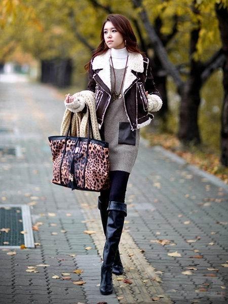 冬季女生款长靴子潮流搭配