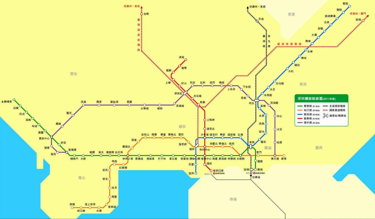 深圳最新规划的地铁线路图等.