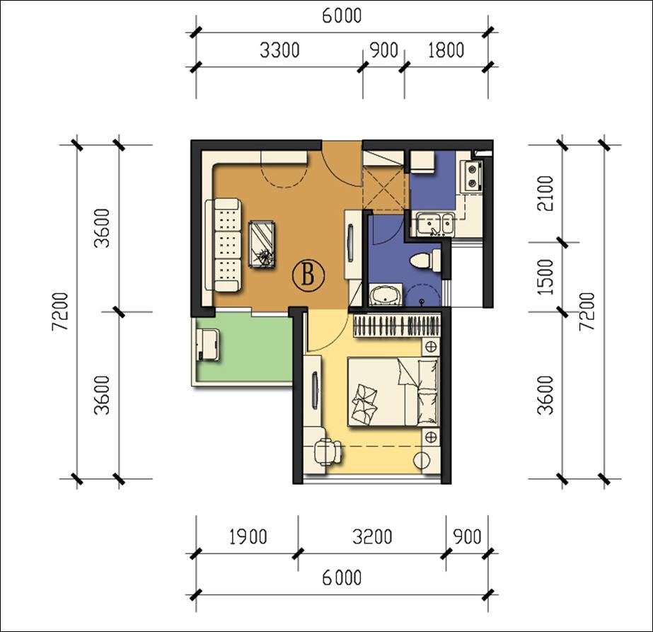 家在前海,曝龙海家园1房1厅户型尺寸图