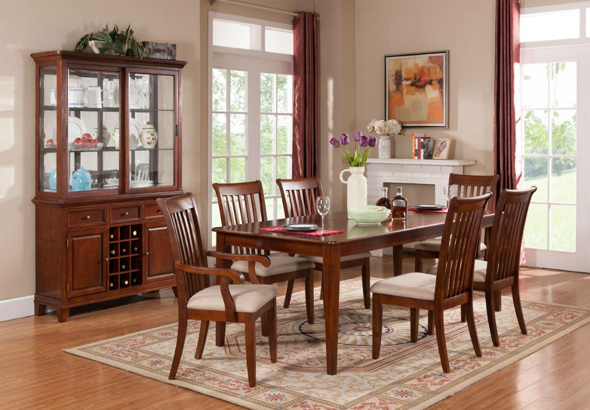 美式乡村酒柜实木餐桌椅组合6人座简约长方形可伸缩