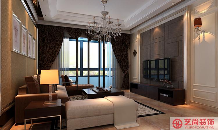 财经学院简欧客厅装修效果图,沙发背景墙采用壁纸和照片形式