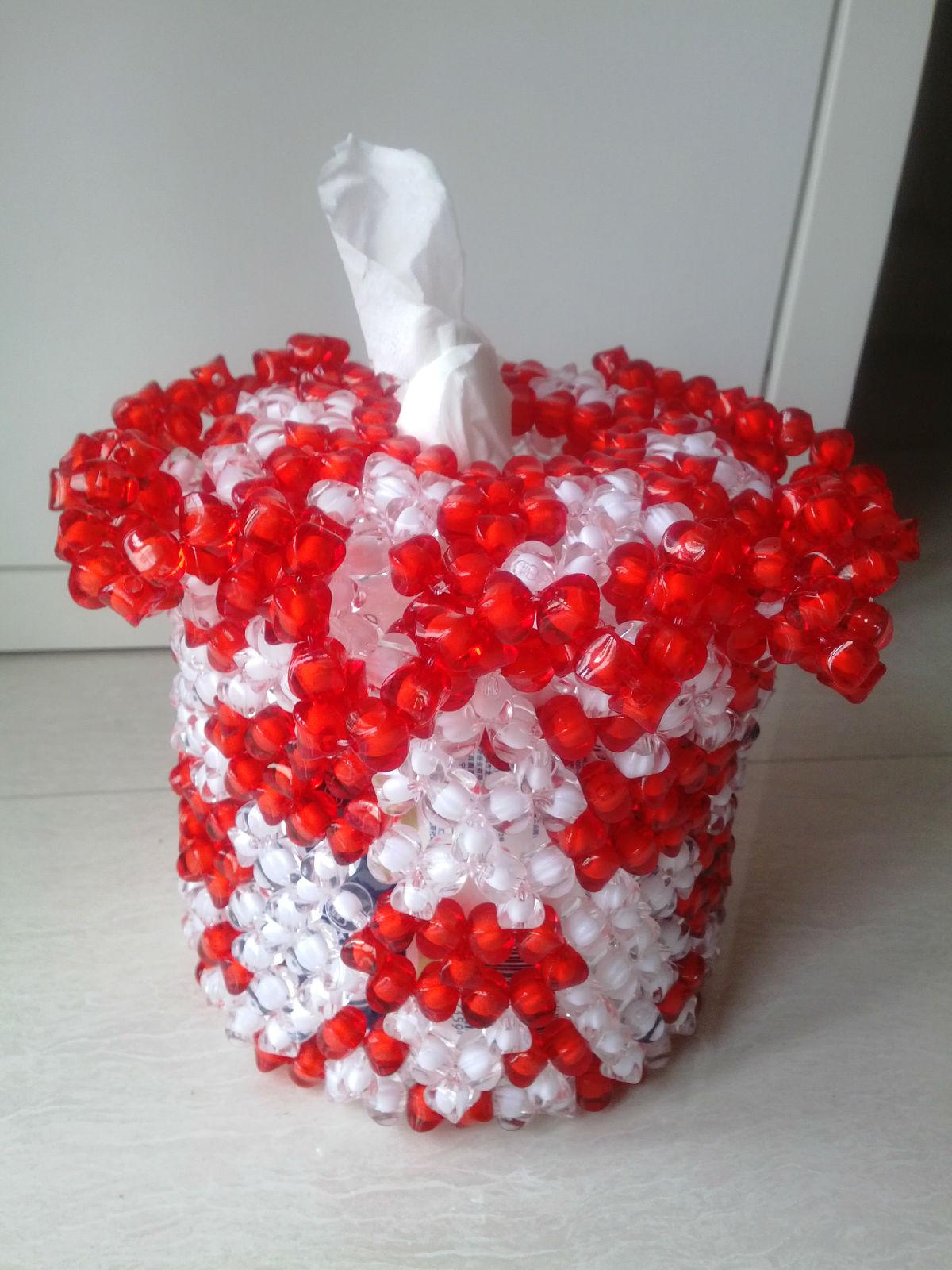 手工珠编长方形纸巾盒
