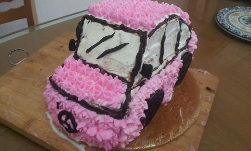 送给爱车小女孩子的礼物------汽车造型生日蛋糕
