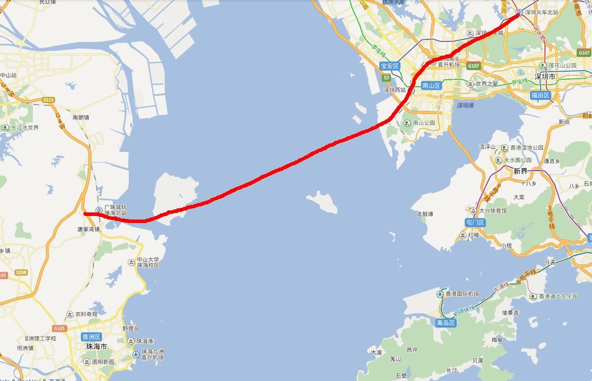 珠海铁路地图高清版