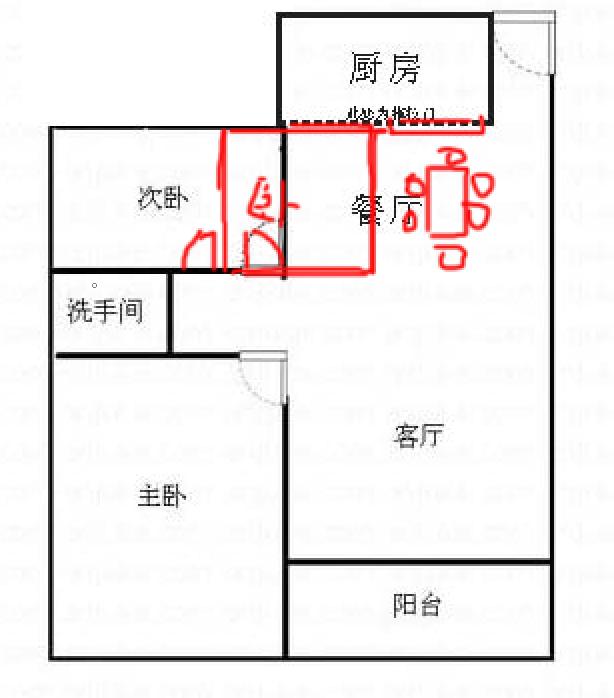 求两房改三房设计图