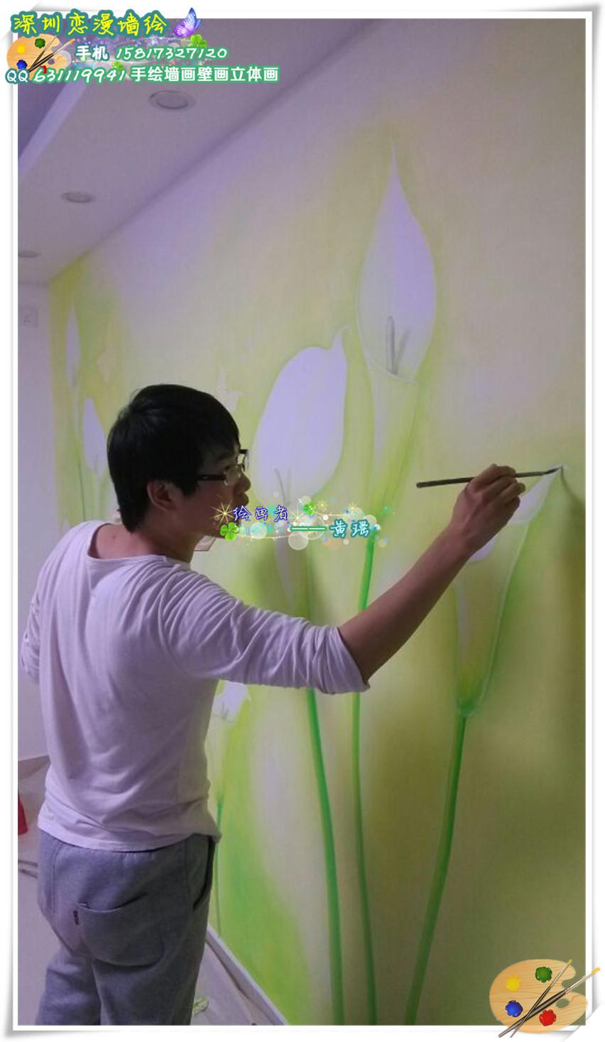 5月最新墙绘壁画手绘墙画作品 清新的马蹄莲电视背景