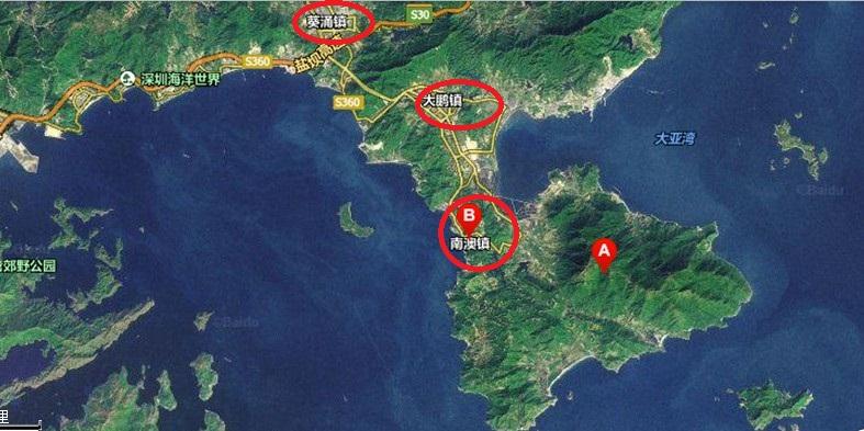 大鹏半岛卫星图,红色的3个圈则是大鹏新区的三个街道.