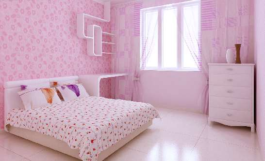 粉色壁纸欧式床 配什么颜色地板?